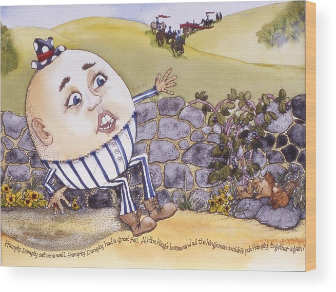 Humpty Dumpty Wood Print featuring the painting Humpty Dumpty by Victoria Heryet