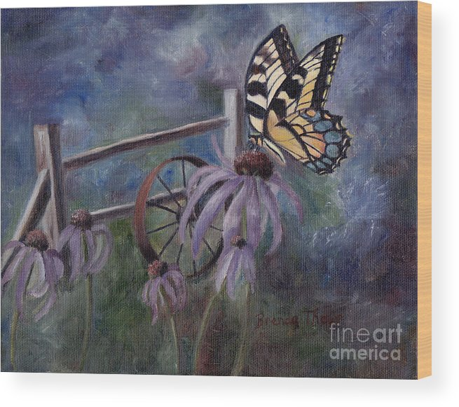 Butterfly Wood Print featuring the painting In The Garden by Brenda Thour