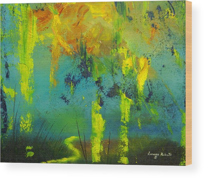 Abstract Wood Print featuring the painting In To Abstract by Lorenzo Roberts