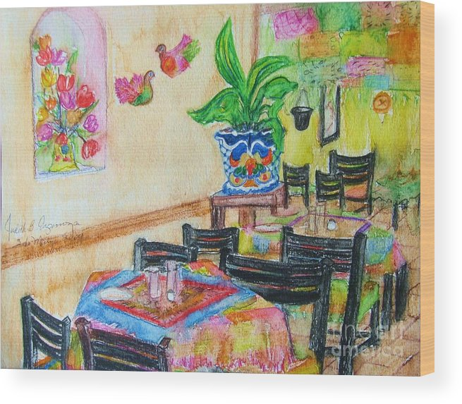 Watercolor Wood Print featuring the painting Indoor Cafe - Gifted by Judith Espinoza