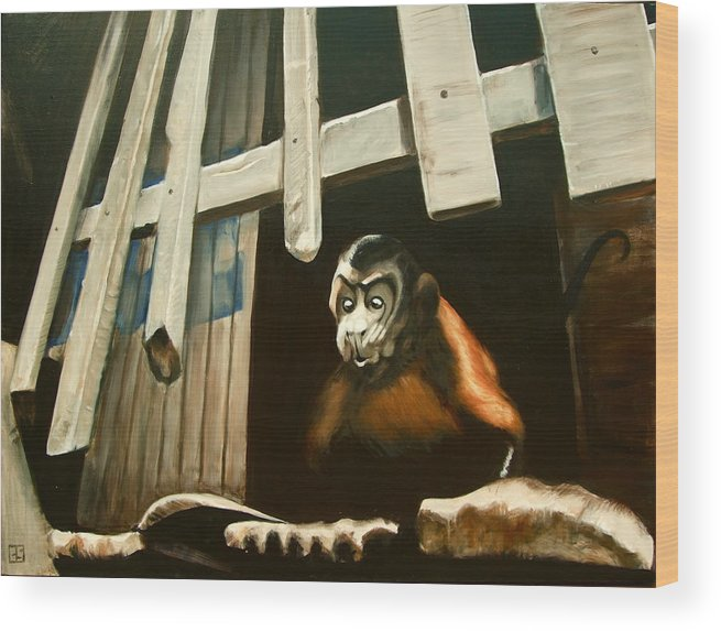 Monkey Wood Print featuring the painting Iquitos Monkey by Chris Slaymaker