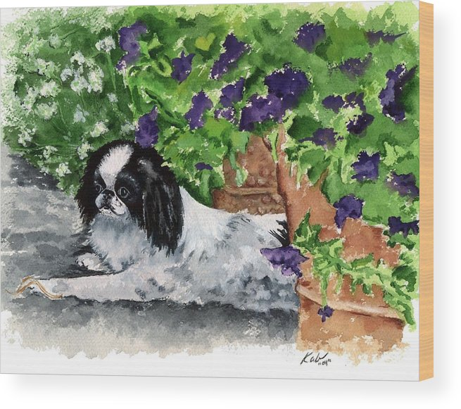 Japanese Chin Wood Print featuring the painting Japanese Chin Puppy And Petunias by Kathleen Sepulveda
