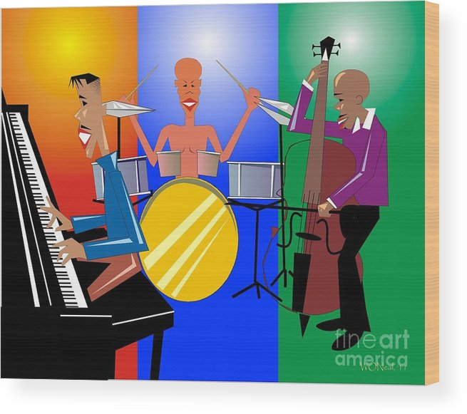 Jazz Wood Print featuring the digital art Jazz Trio by Walter Oliver Neal