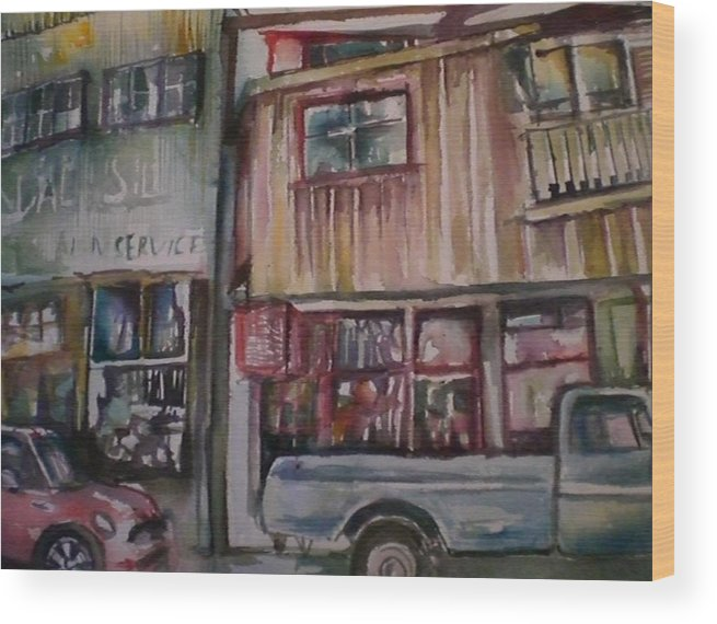 Buildings Wood Print featuring the painting Jerome by Aleksandra Buha