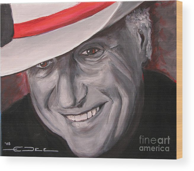 Jerry Jeff Walker Wood Print featuring the painting Jerry Jeff Walker by Eric Dee