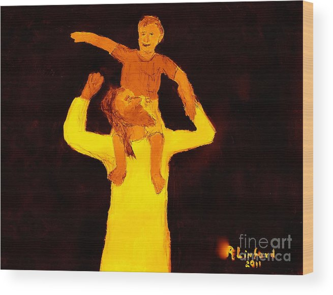 Jesus Wood Print featuring the painting Jesus And Little Boy 1 by Richard W Linford