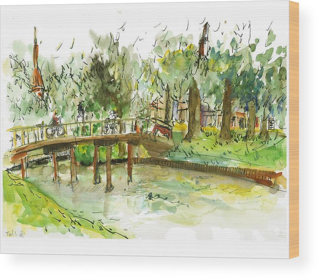 Zwolle Wood Print featuring the painting Kerekbrugje by Tali Farchi