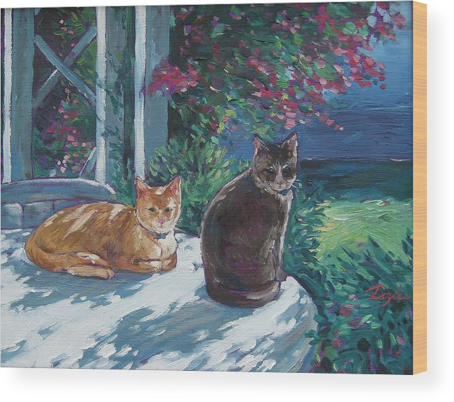Pet Portraits Wood Print featuring the painting Lady And Lucy by Karen Doyle