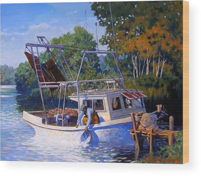 River Wood Print featuring the painting Lafitte Skiff by Kevin Lawrence Leveque