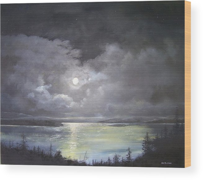 Moonscape Wood Print featuring the painting Lake Shore Moonscape by Ken Ahlering