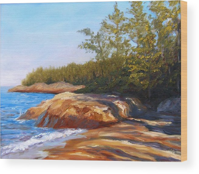 Wood Print featuring the painting Lake Shore by Tami Booher