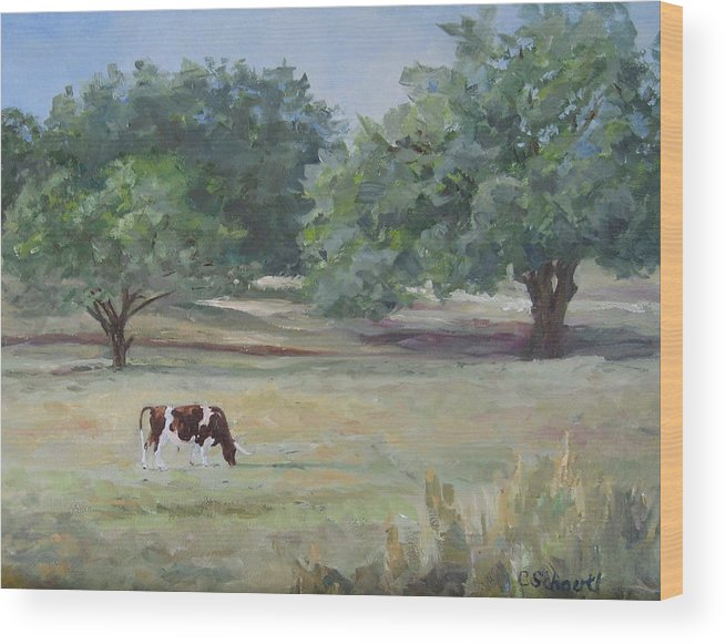 Longhorn Wood Print featuring the painting Landscape With Longhorn by Connie Schaertl