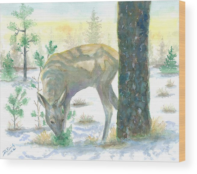 Deer Wood Print featuring the painting Last Greens by Dan Bozich