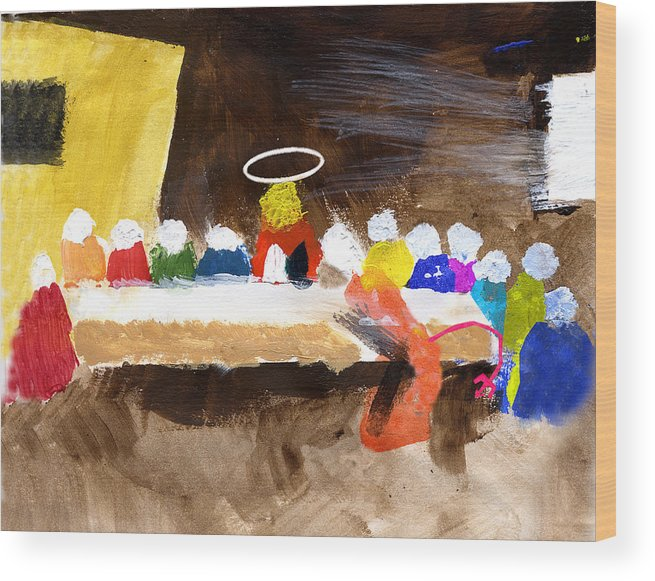 Jesus Wood Print featuring the mixed media Last Supper W-judas by Curtis J Neeley Jr