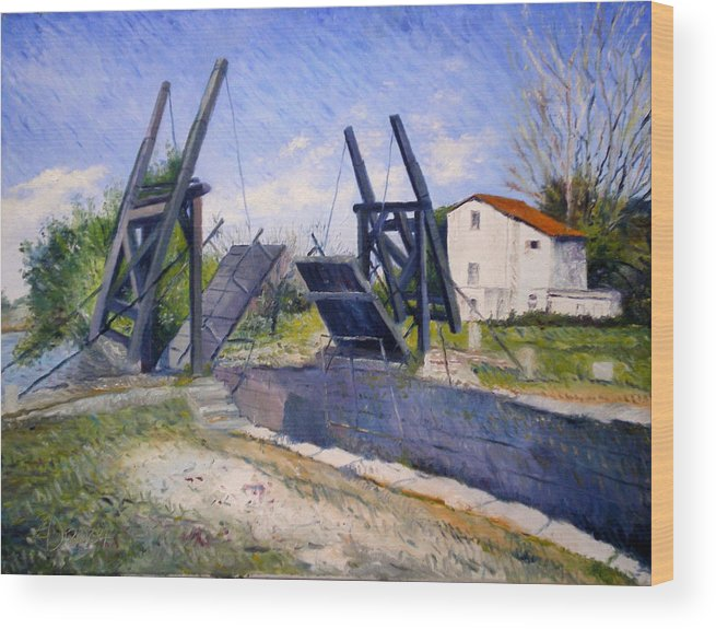 Enver Larney Wood Print featuring the painting Le Pont De Langlois A Arles Provence France 2004 by Enver Larney
