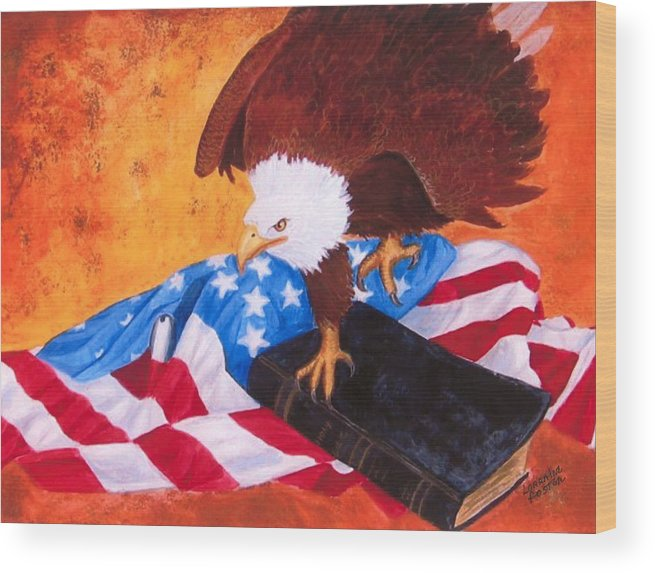 Eagle Wood Print featuring the painting Lest We Forget by Lorraine Foster