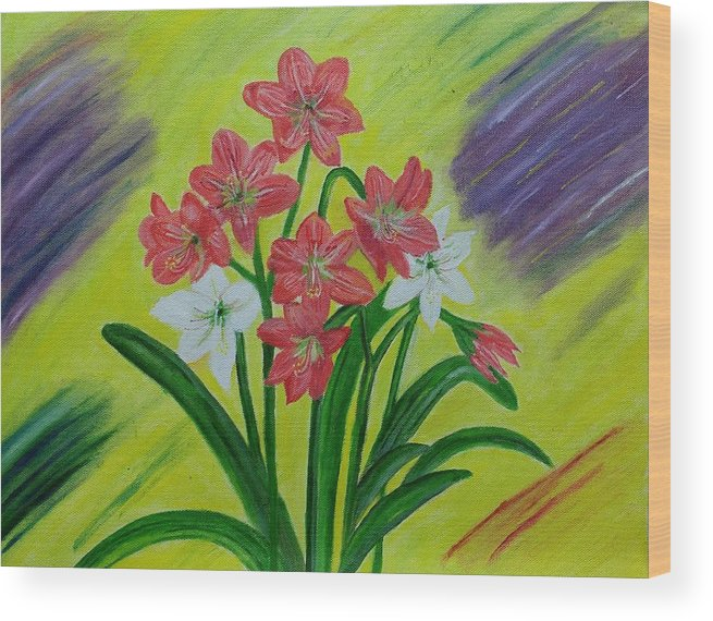 Red Lilies Wood Print featuring the painting Lilies by Suma GV