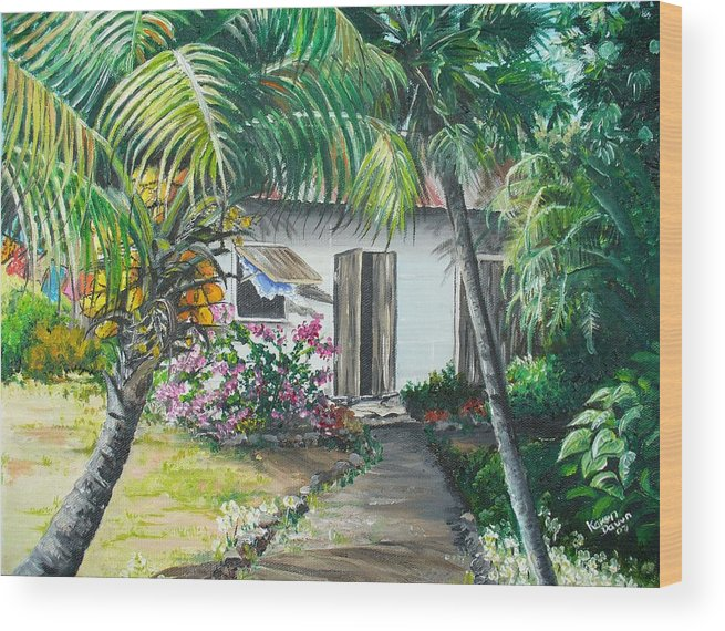 Caribbean Painting Typical Country House In Trinidad And The Islands With Coconut Tree Tropical Painting Wood Print featuring the painting Little West Indian House 2...sold by Karin Dawn Kelshall- Best