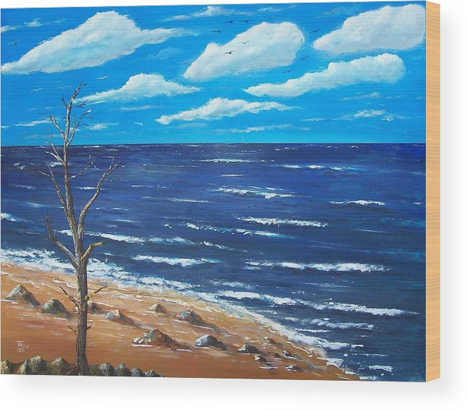 Seascape Wood Print featuring the painting Lone Tree Seascape by Tony Rodriguez