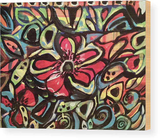Abstract Wood Print featuring the painting Lotus Petals by Nikki Dalton