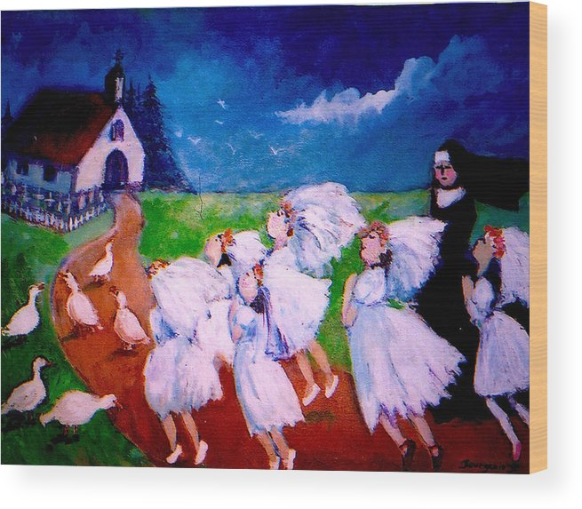 Wood Print featuring the painting Madeleine's Red Shoes by Anne Marie Bourgeois
