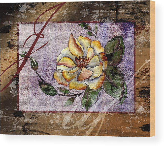 Magnolia Wood Print featuring the painting Magnolia In Limbo Dp19 by Mary Gaines
