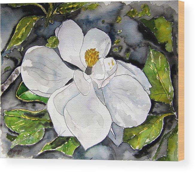 Magnolia Wood Print featuring the painting Magnolia Tree Flower by Derek Mccrea