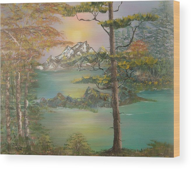 Landscape Wood Print featuring the painting Majestic Cove by Mikki Alhart