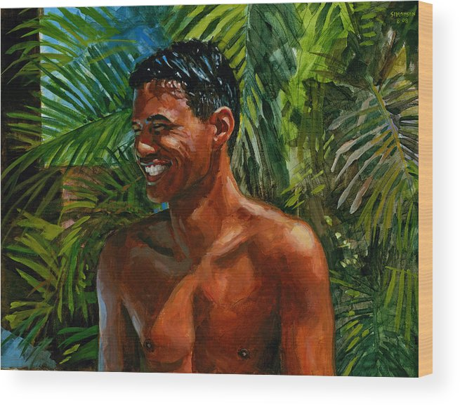 Hawaiian Wood Print featuring the painting Making Nohea Laugh by Douglas Simonson