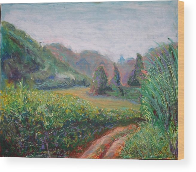Landscape Wood Print featuring the painting Mansapalang Field by Kennedy Paizs