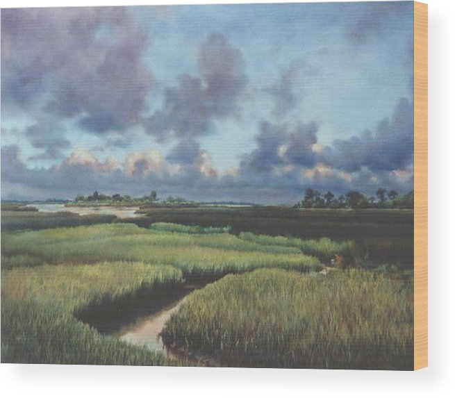 Water Wood Print featuring the painting Marsh Dawn by Marion Hylton