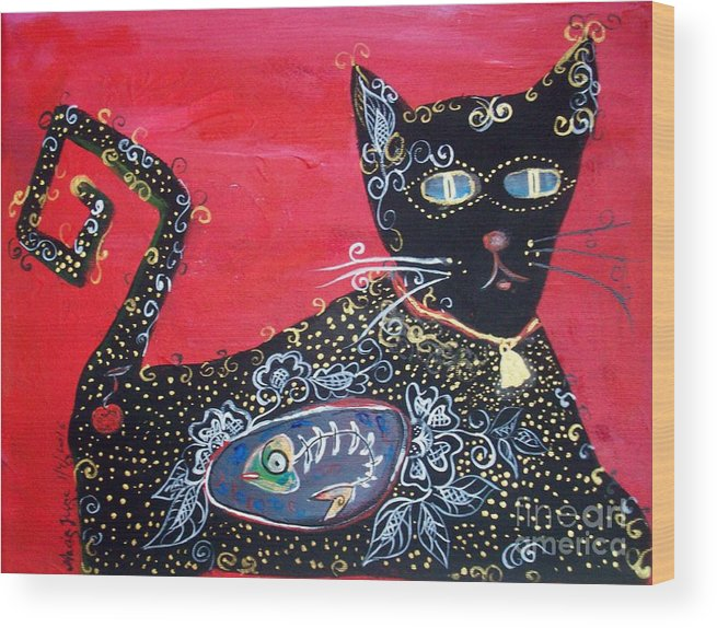 Cat Wood Print featuring the painting Max by Mrs Wilkes Art
