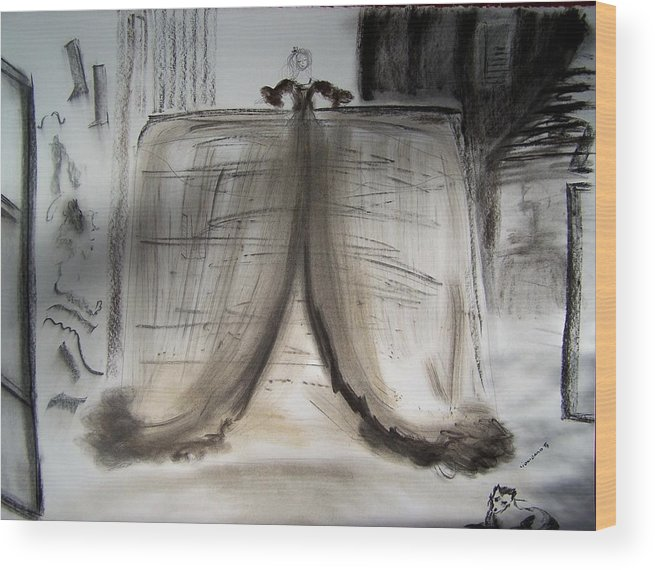 Charcoal Wood Print featuring the drawing Meninas Castle by Geraldine Liquidano