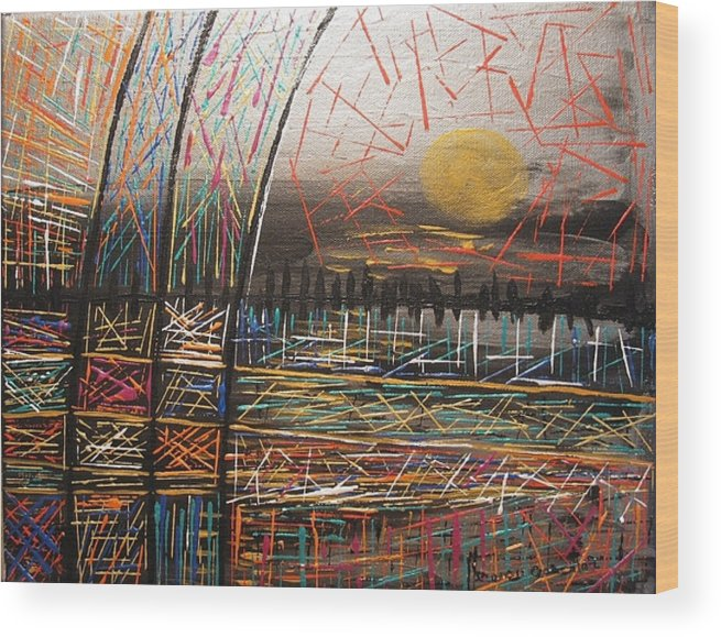 Landscape Wood Print featuring the painting Metallic Patches by Sharon De Vore