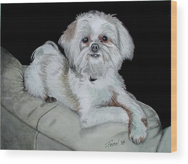 Dog Wood Print featuring the painting Miki Dog by Ferrel Cordle