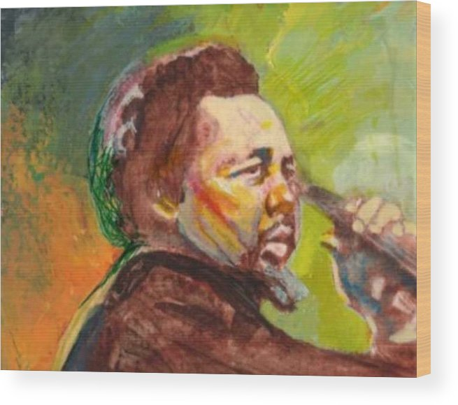 Charles Mingus Wood Print featuring the painting Mingus by Michael Facey