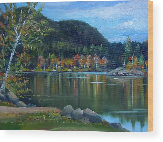 White Mountains Wood Print featuring the painting Mirror Lake In Woodstock New Hampshire by Nancy Griswold