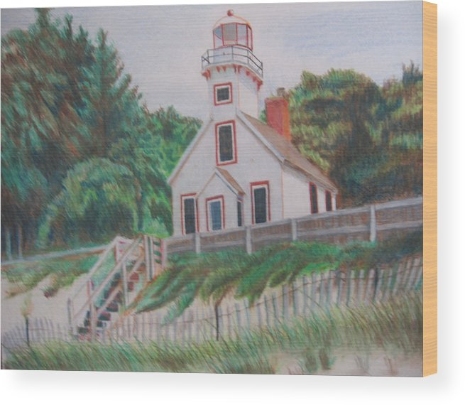 Landscape Wood Print featuring the drawing Mission Point Lighthouse by Matthew Handy