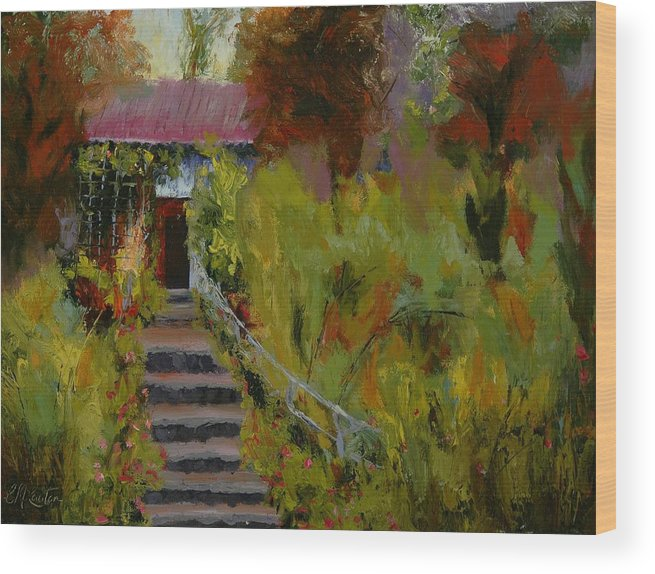 Landscape (framed) Wood Print featuring the painting Monet's Garden Cottage by Colleen Murphy