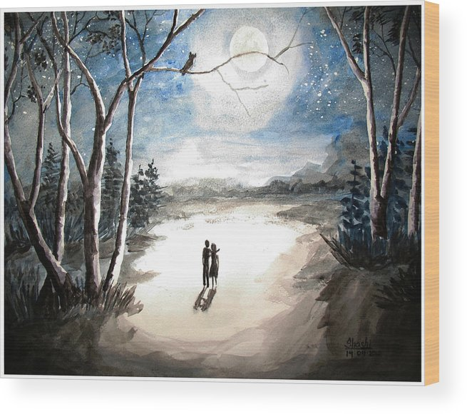Landscape Moonlit Night Wood Print featuring the painting Moonlit Night Sweet Memory by Shashikanta Parida