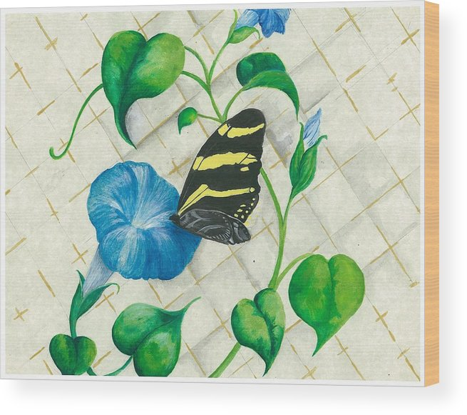 Morning Glories Wood Print featuring the painting Morning Glories And Butterfly by Sally Balfany