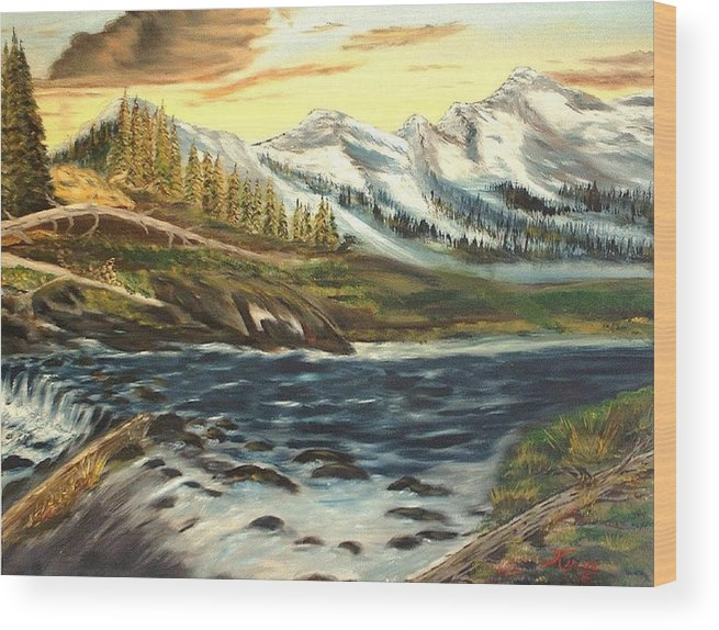 Landscape Wood Print featuring the painting Mountain River by Kenneth LePoidevin