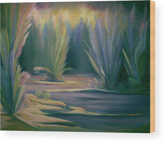 Feathers Wood Print featuring the painting Mural Field Of Feathers by Nancy Griswold