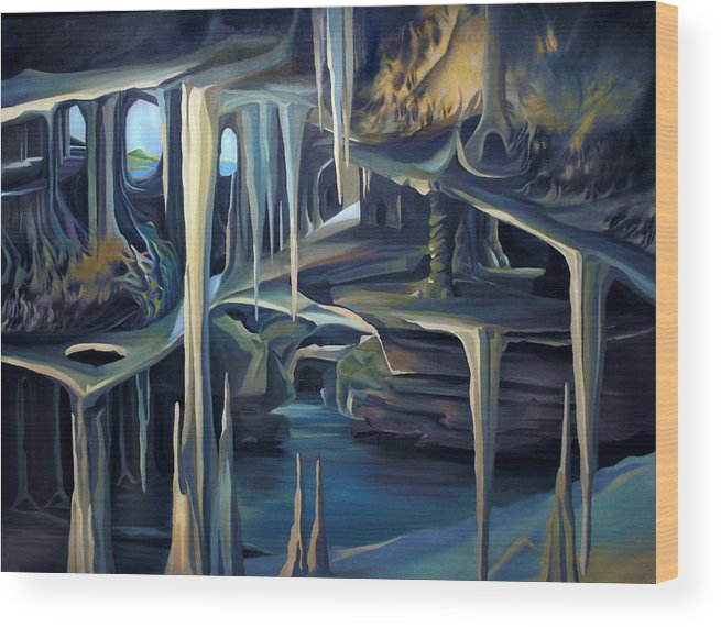Mural Wood Print featuring the painting Mural Ice Monks In November by Nancy Griswold