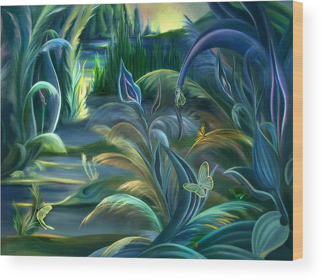 Mural Wood Print featuring the painting Mural Insects Of Enchanted Stream by Nancy Griswold