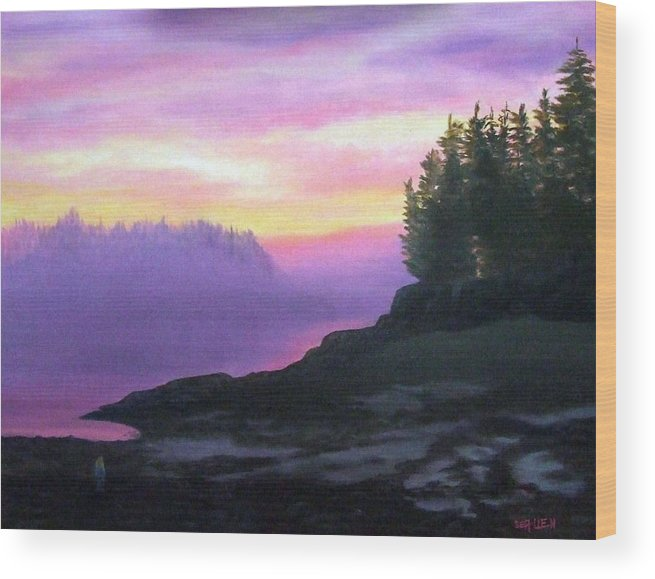 Sunset Wood Print featuring the painting Mystical Sunset by Sharon E Allen