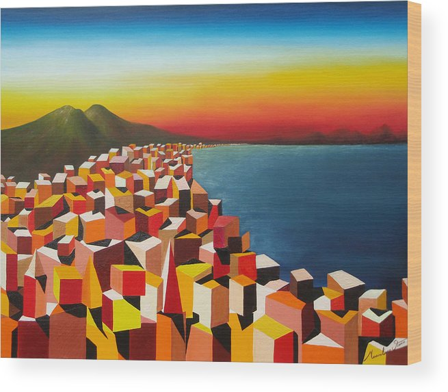 Colors Wood Print featuring the painting Napule' Mille Culure by Massimiliano Stanco