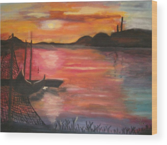 Seascape Wood Print featuring the painting Natures Glory by Mikki Alhart
