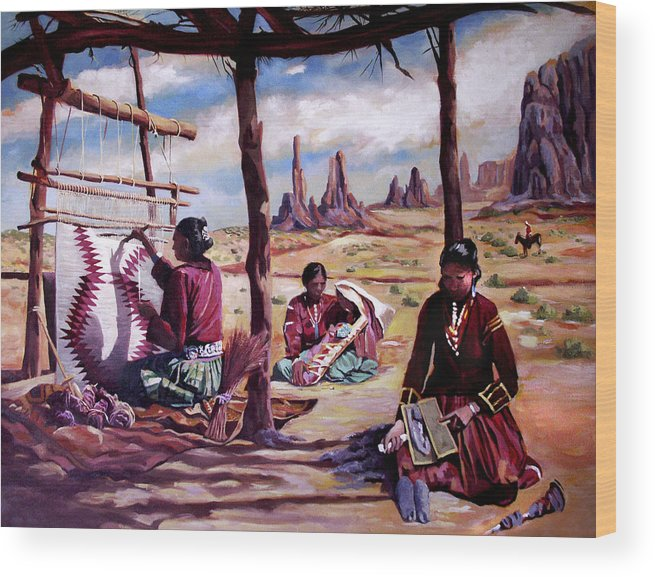 Native American Wood Print featuring the painting Navajo Weavers by Nancy Griswold