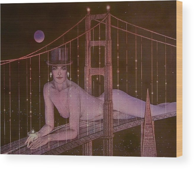 Female Wood Print featuring the painting New Years On The Golden Gate by Gary Kaemmer